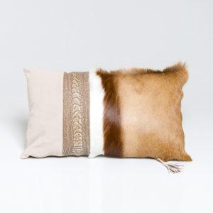 Natural Springbok Cushion with Ostrich shin detail 30 x 50cm