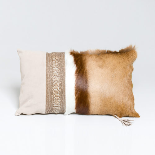 Natural Springbok Cushion with Ostrich shin detail 30 x 50cm