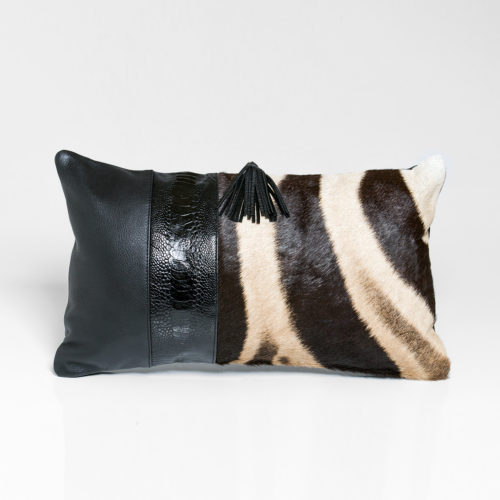 Zebra Cushion with Ostrich shin detail 30 x 50 cm