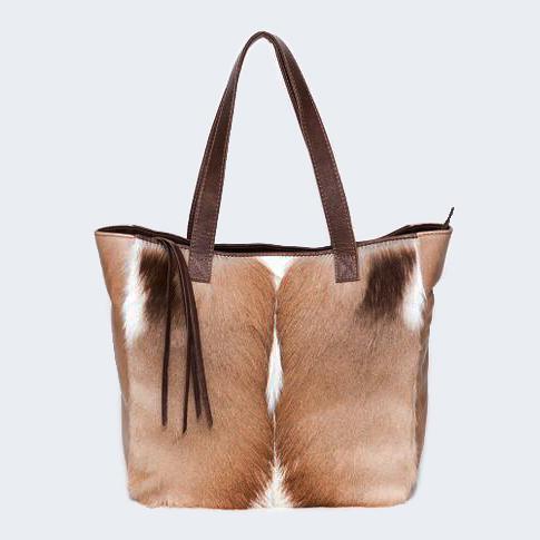Charlene Natural Springbok Handbag