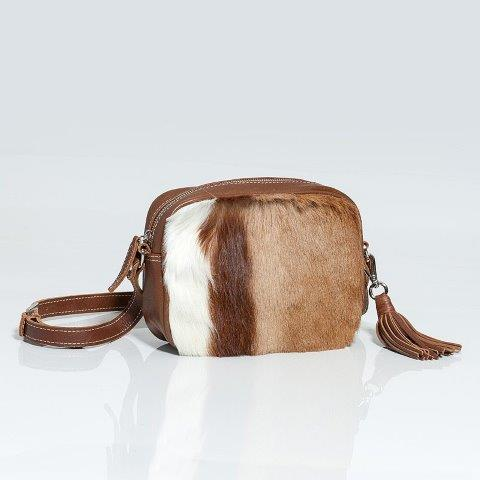 Abi Natural Springbok Skin and leather Handbag