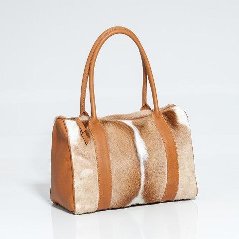 Barrel Natural Springbok Skin and leather Handbag