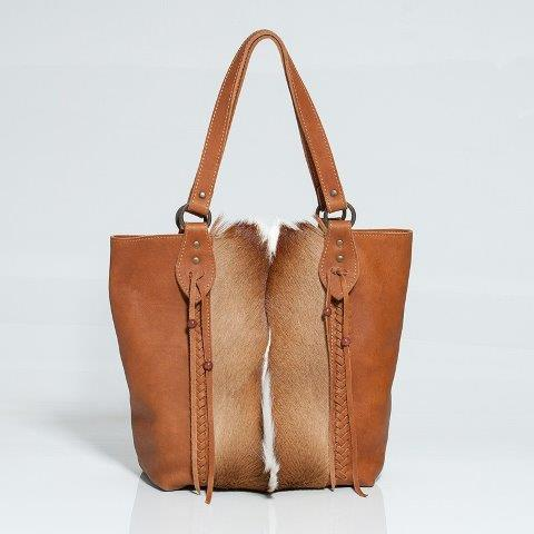 Kerri Natural Springbok Skin and leather Handbag