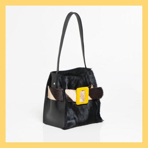 Marzia Buckle Zebra Handbag